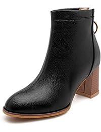 Las Mujeres De Tacones Altos Botines De Invierno Punta Redonda Square Heel  Back Zipper Short Plush d389a31ba90d5