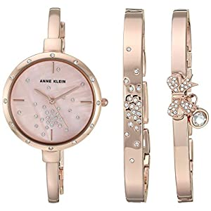 Anne Klein Women's AK/3274 Swarovski Crystal Accented Watch and Bracelet