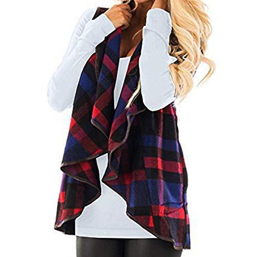 iHENGH Damen Herbst Winter Warm Bequem Slim Lässig Mode Frauen Weste kariert ärmellose Revers offene Frontjacke Sherpa Jacke Mantel Jackentaschen(Blau, L) -