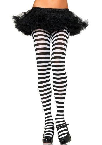 eiße Streifen Strumpfhosen strumpfwaren Halloween Kostüm Schule Geek Nerd Hexe Einheitsgröße &Übergröße Welttag des Buches - schwarz / weißen Streifen, Plus Size (Geek Halloween Kostüme Für Frauen)
