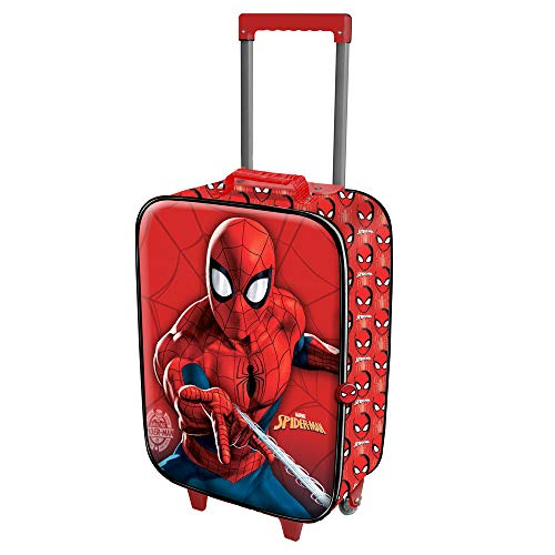 Karactermania spiderman spiderweb-soft 3d trolley-koffer valigia per bambini, 52 cm, 23 liters, rosso (red)