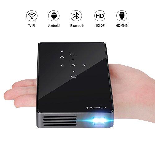 Mini DLP Beamer, LESHP Portable Wireless Wifi Smart Videoprojektor Heimkino 1080P Full HD Kino mit Stativ und EU Ladegerät, für Android / Gaming / Laptop / TV-Box (Schwarz) (Hd-projektor 1080p Wireless)