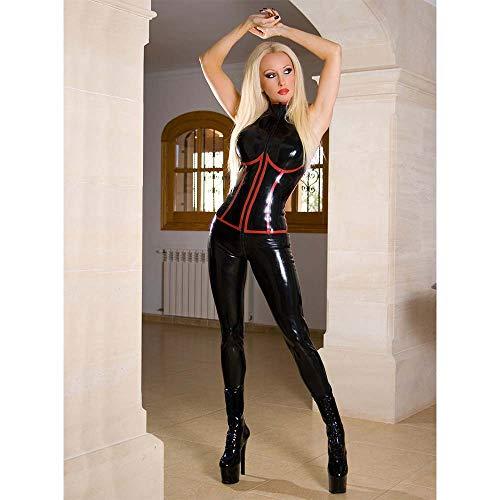 Tiao Women es Sexy Lingerie Set Erotic Oversized Faux Leder Bodysuit Mini Dress Zipper Underwear Women Uniform Steel Tube Dance Costume -