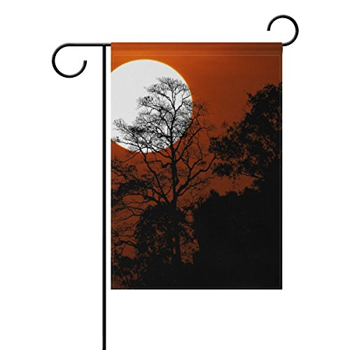 ALAZA Halloween Silhouette Bäume In Spooky Sunset Sky Dekorative Double Sided Garten Flagge