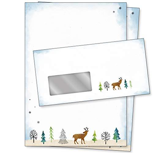 CherryCards Premium Briefpapier Weihnachten Motiv Wald, geeignet für Tintenstrahl- und Laserdrucker (inkl. Umschläge mit Fenster, 50er Set)