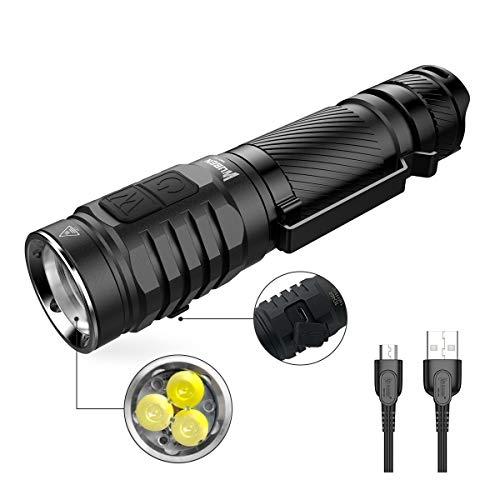 Taschenlampe 3 * LED Super hell 1300 Lumen CREE XPG3 Hoch CRI LED Taktische Wiederaufladbare Taschenlampen Outdoor Camping ,Seite Doppeltaster Handlampe Wasserdicht IPX8 ,7 Modi ,Mit Batterie