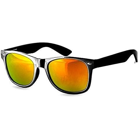 Ultra® negro enmarcada gafas con lentes de oro adultos Wayfarer en estilo ligero gafas de sol UV400 UVA UVB negro enmarcado Unisex hombre mujer con lentes colouful y micro fibra llevan bolsa