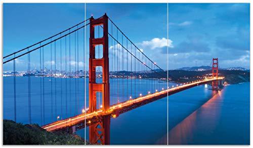 Wallario Herdabdeckplatte/Spritzschutz aus Glas, 3-teilig, 90x52cm, für Ceran- und Induktionsherde, Golden Gate Bridge in San Francisco USA