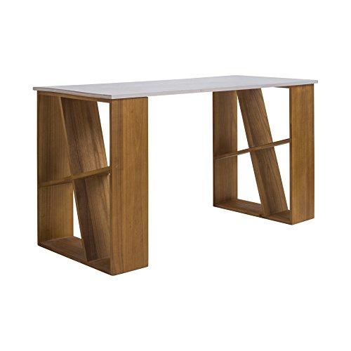 Mobili Rebecca® Poste de Travail Ordinateur Portable Bois Tiroirs de Rangement Blanc Brun Clair Design Moderne Chambre Enfants Maison Bureau (Cod. RE4808)