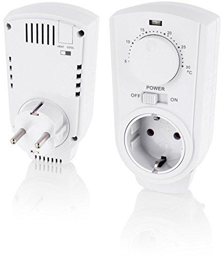 Analog Zwischenstecker mit Thermostat 230V - Drehregler - Steckdosen-Thermostat 3500W - für Klima + Heizung