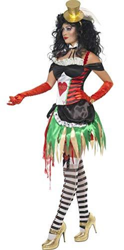 Damen Sexy Grauenhaft Greed 7 Todsünden Halloween Circus Vegas Spiel Mädchen Junggesellinnenabschied Kostüm Kleid Outfit UK 14-16 (Vegas Mädchen Kostüm)