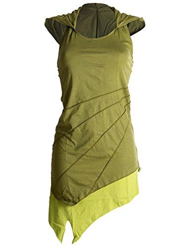 Kunst-schubladen (Vishes - Alternative Bekleidung - Asymetrischer Neckholder aus Baumwolle mit Zipfelkapuze - zweifarbig Olive 36)