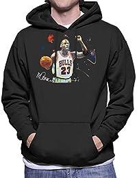 Sidney Maurer Original Portrait of Michael Jordan Chicago Bulls Basketball Mens Hooded Sweatshirt