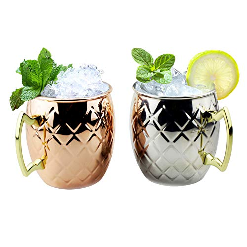 Moscow Mule Tasse aus Edelstahl, 2er-Pack, mit Ananas-Streifen-Design, Cocktail-Glas, 43,2 ml, 2er-Set