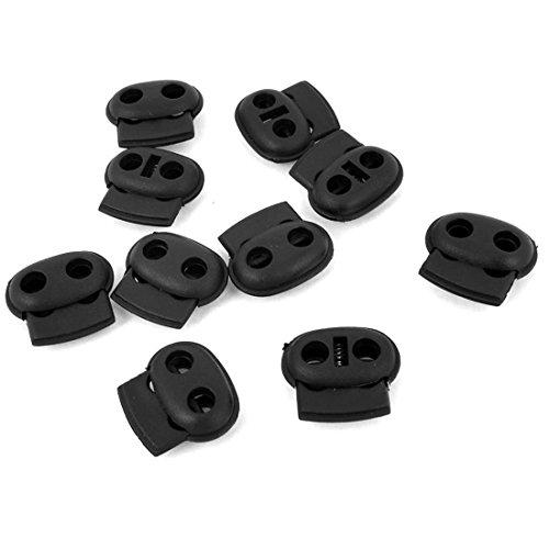 Schwein Nase Schnalle - TOOGOO(R) 10 Stueck, aus Kunststoff, Schwarz, 5mm, doppel Enden,Kordel-Verschluss Stopper (Schwein Nase)