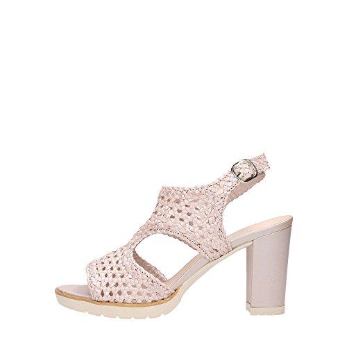 Sandalia De Tacón S768 Perlato Melluso Mujer Zapato Hecho En Italia Blanco