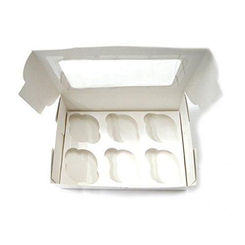 Kcopo Geschenkboxen Quadratisch Patisserieschachteln Geschenkbox mit Sichtfenster Bio-Verpackung Essen Box Für Gebäck Kuchen Pralinen Kekse Cupcakes 10 Stück Rinderfarbe Bio-cupcake