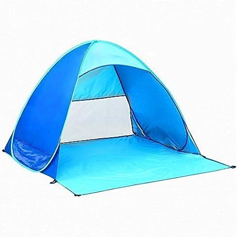 Tente Pop Up automatique rapide, binwo extérieur tente de plage famille Camping Abri extérieur 2–3personnes Randonnée Camping Pêche Pique-nique soleil Abri pour la plage, parc, Bleu