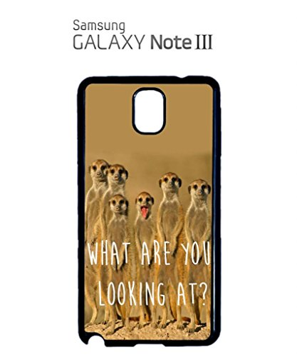 Meerkat What Are You Looking At Funny Hipster Swag Mobile Phone Case Back Cover Coque Housse Etui Noir Blanc pour Samsung Note 3 White Noir