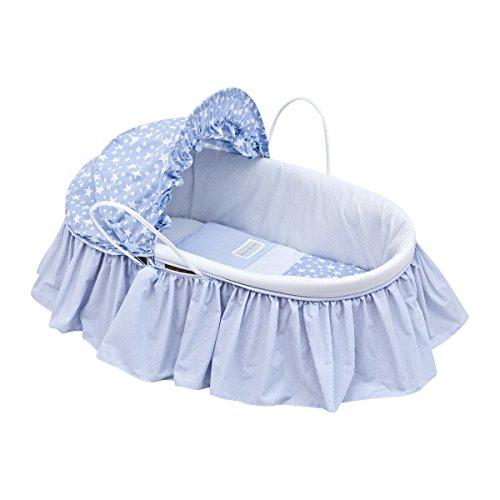Cambrass Star - Capazo de palma con capota y vestidura, color azul celeste