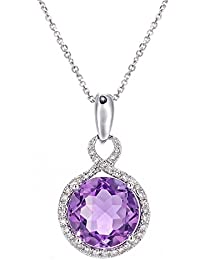 Revoni 9ct White Gold Diamond and Amethyst Round Pendant Necklace