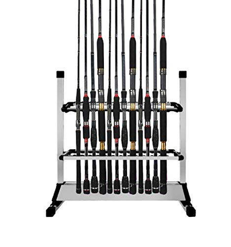 Triplespark Rutenständer Rutenhalter Fishing Rack Holder Stand Tackle Set Kapazität 24pcs für Alle Arten Angelruten (Aluminium)