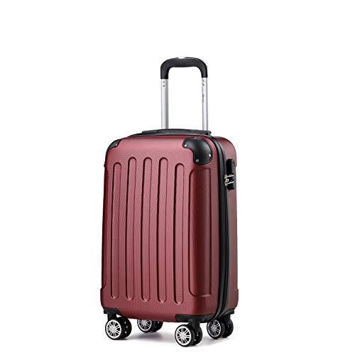 Handgepäck Koffer Hartschalen Trolley Rollkoffer Reisekoffer (Weinrot, 2045-M)