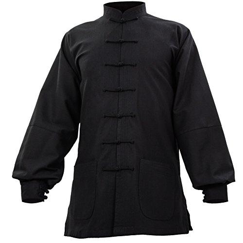 wu designs Leinen (Mittel) Kung Fu & Tai Chi Shirt Stehkragen Manschetten - Taiji Anzug Schwarz 195