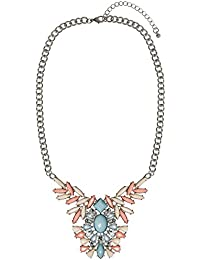 ADORNING AVA Gold Floral Pendant Collar Necklace with Peach and Yellow Pastel Coloured Rhinestones