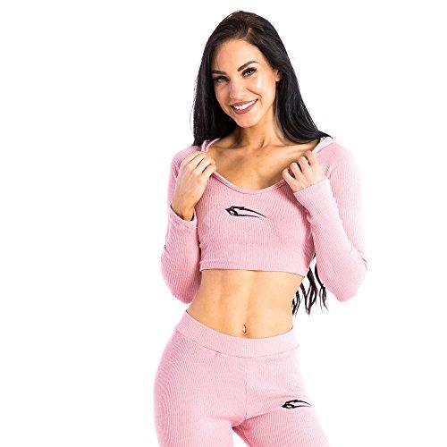 SMILODOX Damen Loungewear Hoodie \'Cushy\' | Slim Fit Hoodie | Homewear | Freizeit Trainingspullover mit Kuscheleffekt Longsleeve, Farbe:Rosa, Größe:L