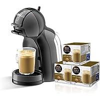 Pack Krups Dolce Gusto Mini Me - Cafetera de cápsulas, 15 bares de presión, color negro y gris + 3 packs de café Dolce Gusto Con Leche