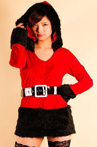 Promi voller Lautstärke Haube mit einem kleinen Gesicht und sexy Sankt-Weihnachts cosplay Kostüm Damen in zwei Farben (rot X schwarz) a383b
