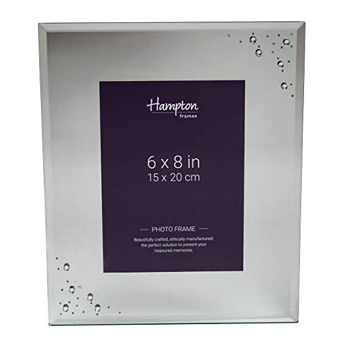 Hampton Frames Geneva Bilderrahmen, 15 x 20 cm, 40 mm breit, verspiegelt, mit kleinen Kristallen, 10 x größere Kristalle in 2 Ecken. -