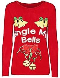 LILICAT☃ Top de Manga Larga Casual con Estampado de Letras de Copos de Nieve de Elk de Navidad Jingle Bell Letter Printed Sweatshirt Pullover Blouse T-Shirt