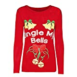 Christmas Pullover Bluse Tops Damen Weihnachten Brief Drucken Rundkragen Langarm Sweatshirt Cute Hemd Mantel Weihnachtspullover Fashion Pulli Warme Elegante T-Shirt von Innerternet