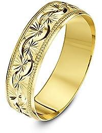 Theia Anillo de Bodas de Oro Amarillo, Oro Blanco o Oro Rosado, 9K,