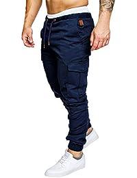 Cindeyar Pantaloni Uomo Lunghi Cargo con Coulisse Tasche Laterali Trousers  della di Sport Pants Elastici Casual eca9ac8d8d3