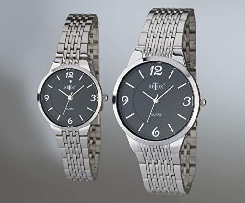 Retox Damen und Herren Uhren Set, schwarzes Zifferblatt und Swarowski Kristall auf der Damenuhr
