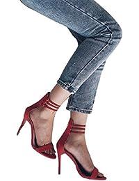 Sandalias de tacón alto para Mujer con Punta Ataduras Al Tobillo