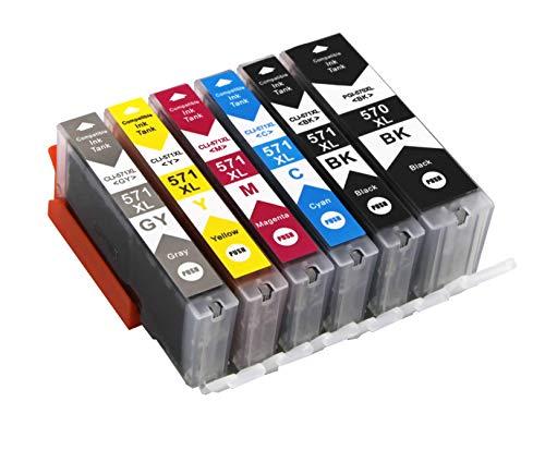 6 Druckerpatronen mit Chip und Füllstandsanzeige kompatibel zu Canon PGI-570 CLI-571 für Canon Pixma MG7700 MG7750 MG7751 MG7752 MG7753 TS8050 TS8051 TS8052 TS8053 TS9050 TS9055 mit Grau