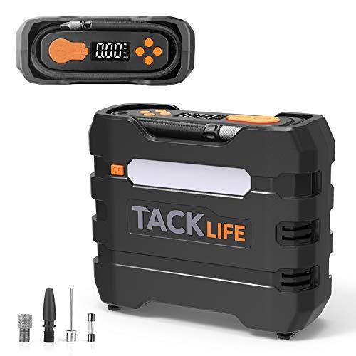 TACKLIFE ACP1B Compresor Aire Coche, Inflador Digital 150PSI, Compresor de Aire 12V, Bomba Electrico con Manómetro, Pantalla LCD, 3 Modos de luz LED, Fusible Extra, 4 Adaptadores de Boquilla