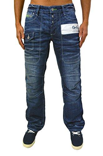 Gio Goi Herren Reguläre Passform Gerades Bein Jeans Demo Col Rolle Wash Falte Effekt Stylisch Denim Blau