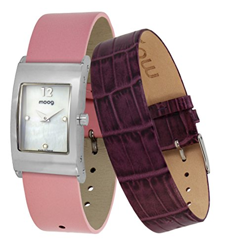 Moog Paris Dome Women's Watch with White Mother of Pearl Dial, Pink Genuine Leather Strap & Swarovski Elements - M41662-402