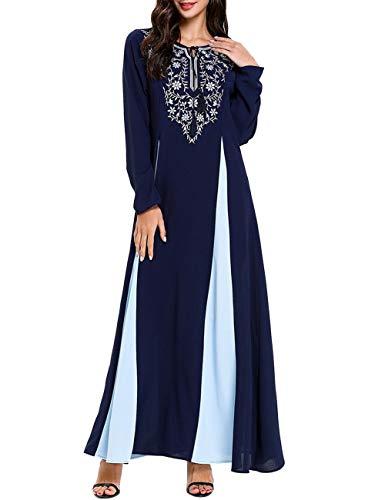 VHFIStj Vestidos Musulmanes para Mujeres Bordado de Flores Retro Cuello en V Vestidos Maxi de Playa Vestido Largo de Noche de Dama de Honor de Boda Marroquí de Dubai Vintage