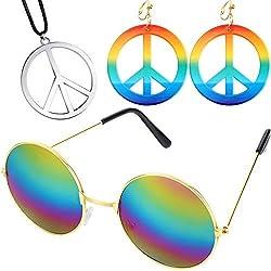 Ensemble d'Accessoire de Déguisement de Hippie des Années 60 70, Comprenant Boucles d'Oreilles et Colliers de Signe de Paix, Lunettes de Style Hippie pour Soirée à Thème ou Halloween (Couleur 1)