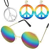 Set di Accessori per La Fascia Hippie degli Anni '60 e '70, Includere Orecchini con Segno di Pace e Collane, Occhiali Stile Hippie per Festa a Tema o Halloween (Colore 1)