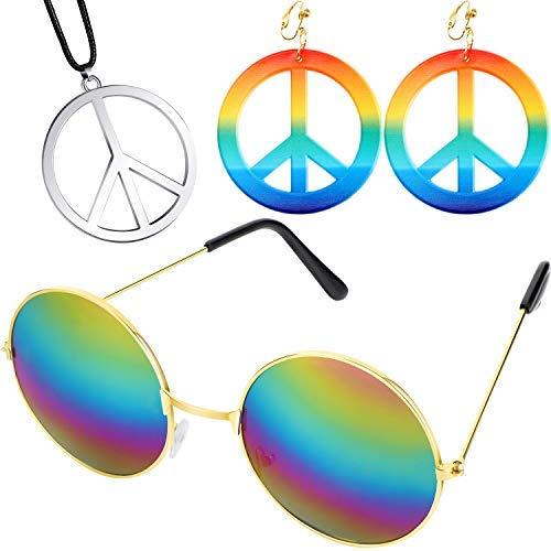 meekoo 60s 70s Set de Accesorios de Aderezo para Hippie, Incluye Arete