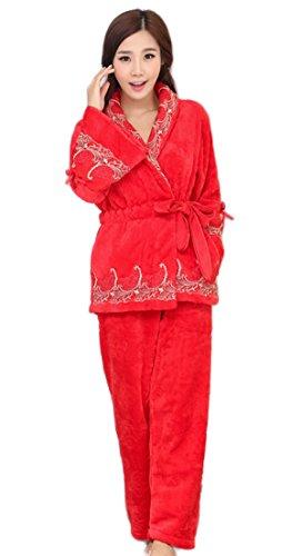 Nachtwäsche Damen Winter Warme Weiche Pyjamas Coral Cashmere Pyjamas Top Und Bottoms Set Suit Pyjamas Mit Gürteltaschen,Red-L (Hose Nachtwäsche Pjs)