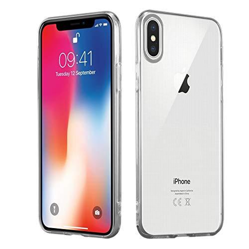 HSP Transparente Hülle kompatibel mit Apple iPhone X | Premium TPU (Silikon) Case | Kompatibel für Induktives Laden | Microdot Technologie | Maßgeschneiderte, durchsichtige Schutzhülle