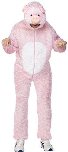 Kostüm Tragen Schwein Halloween (Smiffys, Unisex Schweine Kostüm, Jumpsuit mit Kapuze, Größe: M,)
